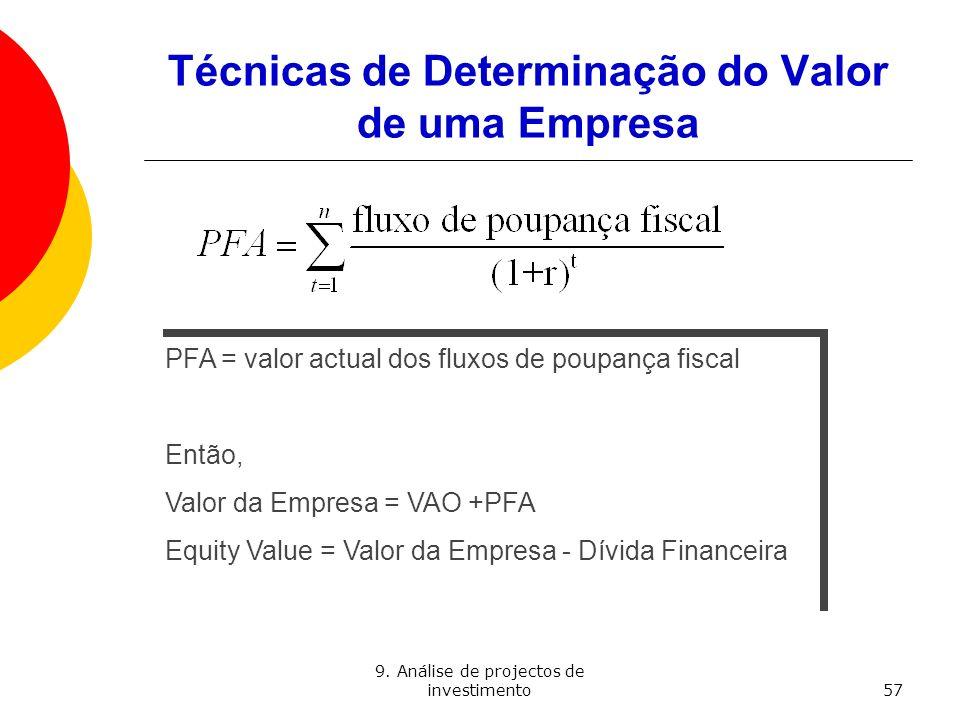 9. Análise de projectos de investimento57 Técnicas de Determinação do Valor de uma Empresa PFA = valor actual dos fluxos de poupança fiscal Então, Val