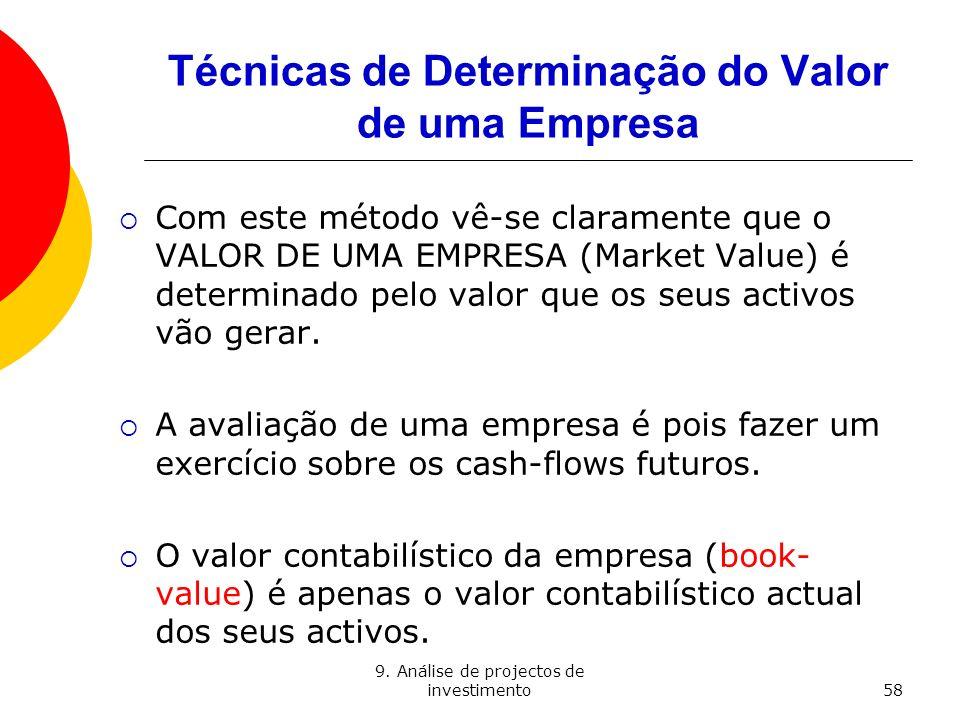 9. Análise de projectos de investimento58 Técnicas de Determinação do Valor de uma Empresa Com este método vê-se claramente que o VALOR DE UMA EMPRESA