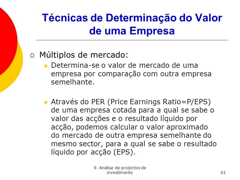 9. Análise de projectos de investimento61 Técnicas de Determinação do Valor de uma Empresa Múltiplos de mercado: Determina-se o valor de mercado de um