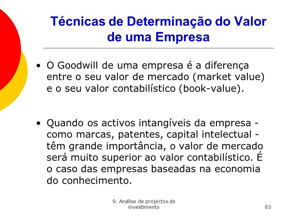 9. Análise de projectos de investimento63 Técnicas de Determinação do Valor de uma Empresa O Goodwill de uma empresa é a diferença entre o seu valor d