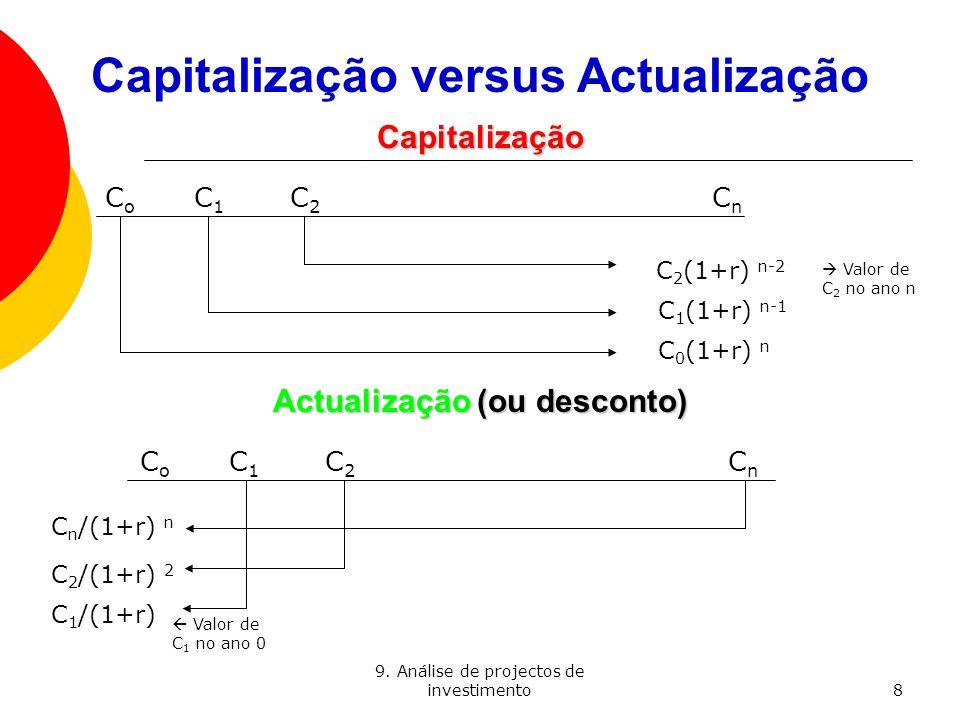 9. Análise de projectos de investimento8 Capitalização versus Actualização Capitalização C o C 1 C 2 C n C 2 (1+r) n-2 C 1 (1+r) n-1 C 0 (1+r) n Actua