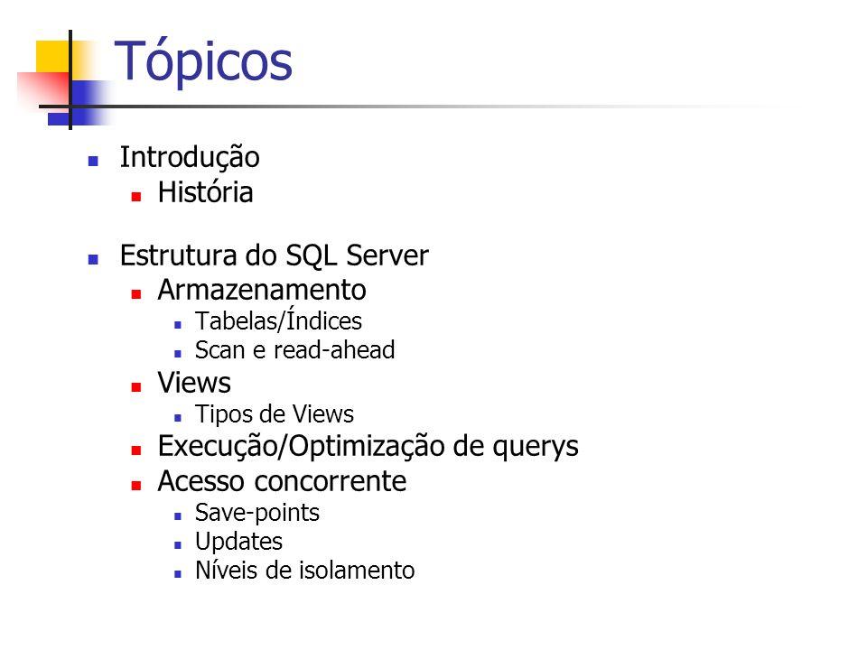 Tópicos Introdução História Estrutura do SQL Server Armazenamento Tabelas/Índices Scan e read-ahead Views Tipos de Views Execução/Optimização de query