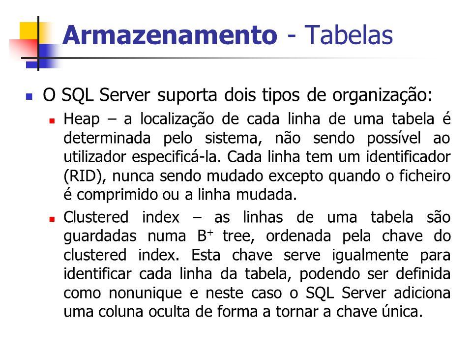 Armazenamento - Tabelas O SQL Server suporta dois tipos de organização: Heap – a localização de cada linha de uma tabela é determinada pelo sistema, n