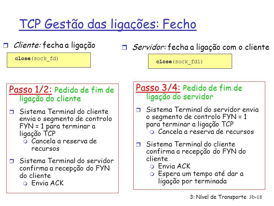 3: Nível de Transporte3b-18 TCP Gestão das ligações: Fecho Passo 1/2: Pedido de fim de ligação do cliente r Sistema Terminal do cliente envia o segmen