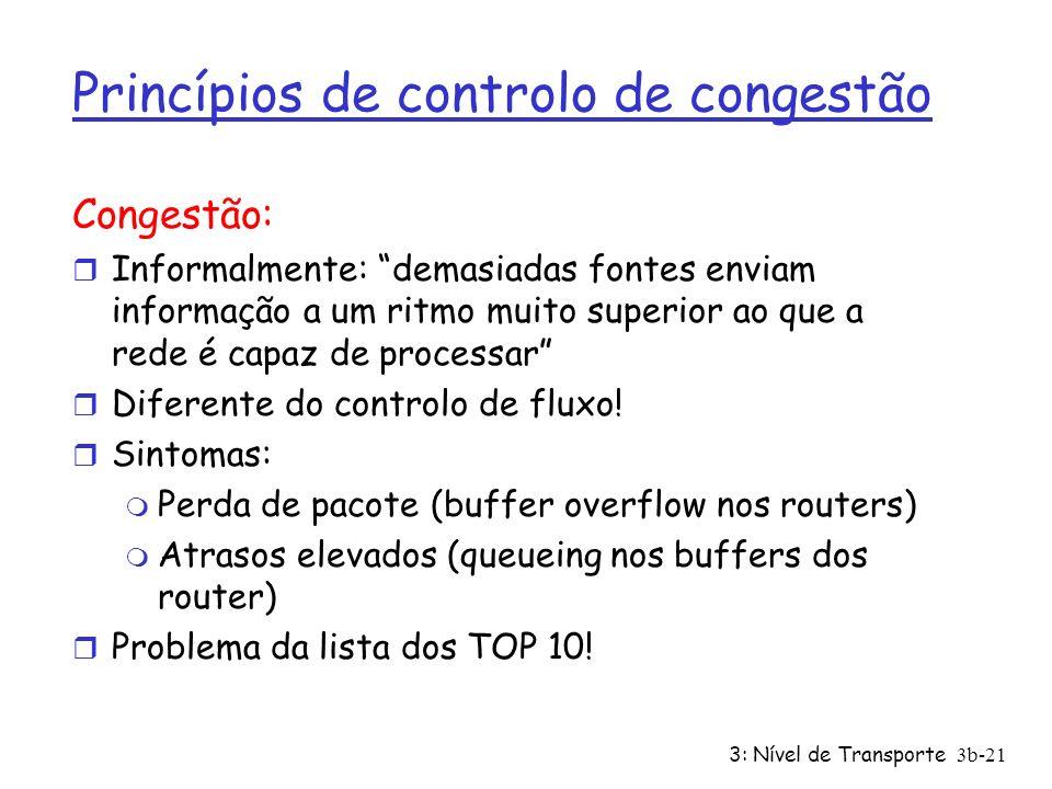 3: Nível de Transporte3b-21 Princípios de controlo de congestão Congestão: r Informalmente: demasiadas fontes enviam informação a um ritmo muito super