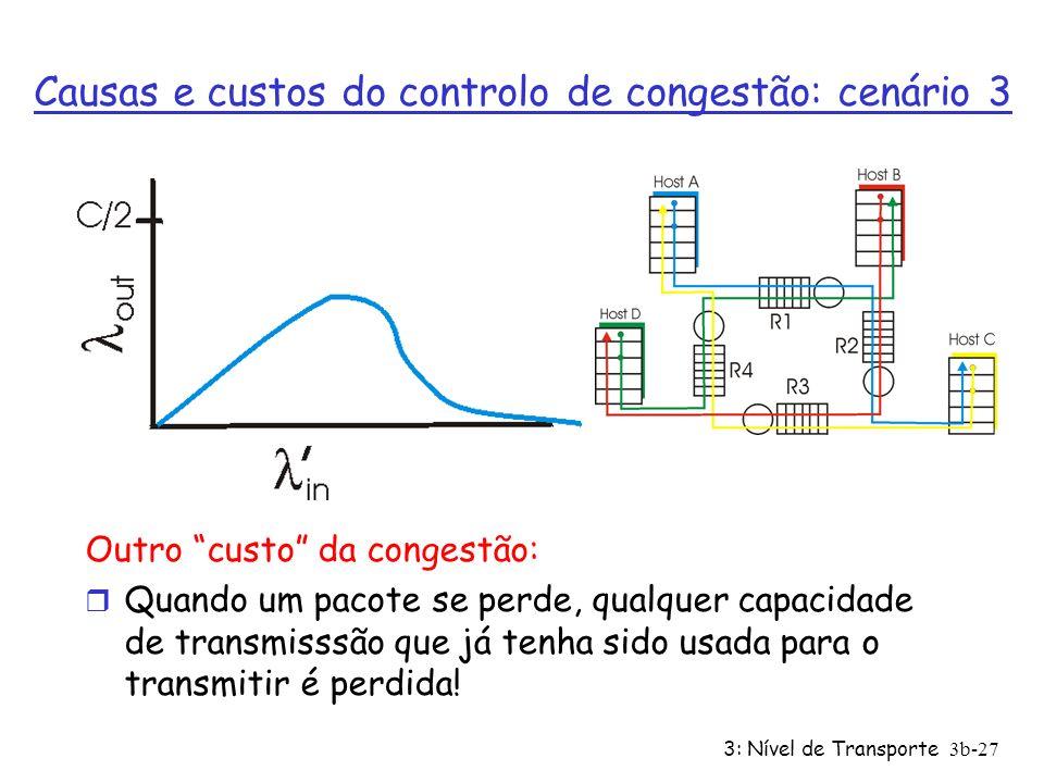 3: Nível de Transporte3b-27 Outro custo da congestão: r Quando um pacote se perde, qualquer capacidade de transmisssão que já tenha sido usada para o