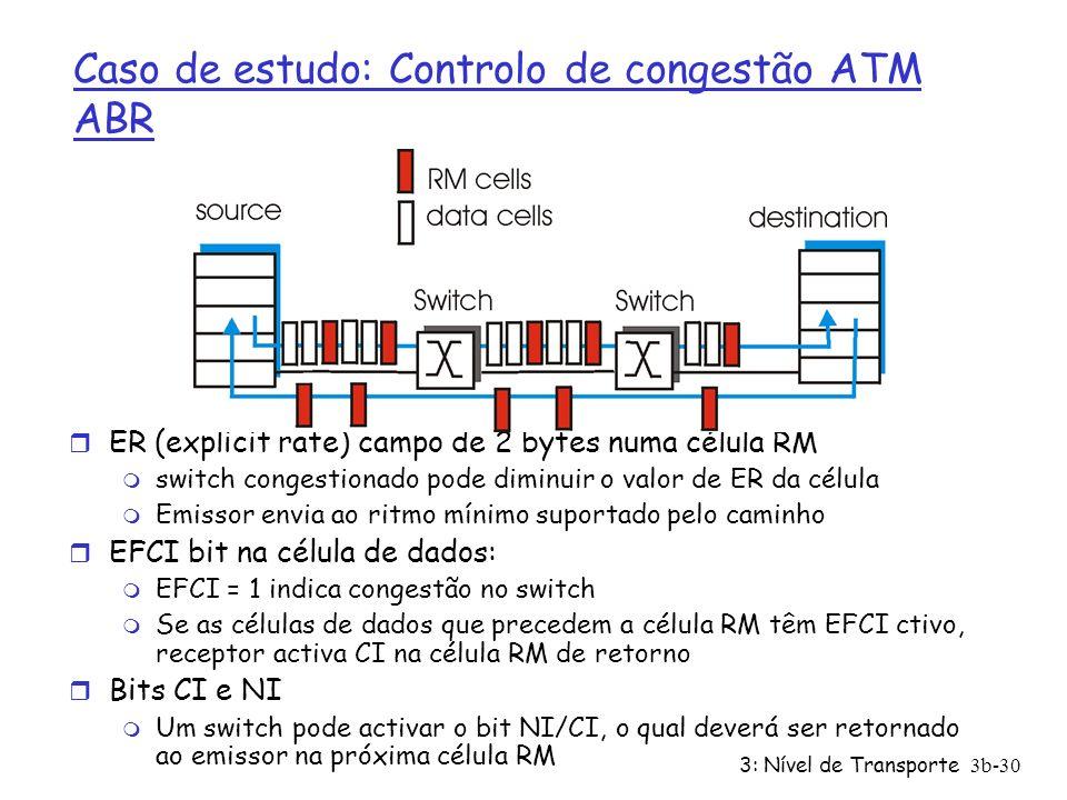 3: Nível de Transporte3b-30 r ER (explicit rate) campo de 2 bytes numa célula RM m switch congestionado pode diminuir o valor de ER da célula m Emisso
