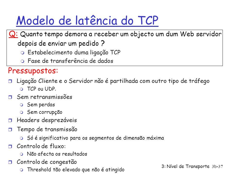 3: Nível de Transporte3b-37 Modelo de latência do TCP Q: Quanto tempo demora a receber um objecto um dum Web servidor depois de enviar um pedido ? m E