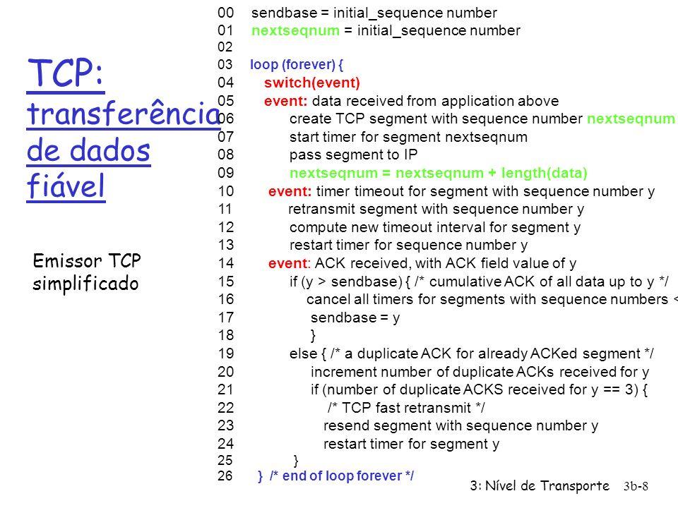 3: Nível de Transporte3b-8 TCP: transferência de dados fiável 00 sendbase = initial_sequence number 01 nextseqnum = initial_sequence number 02 03 loop