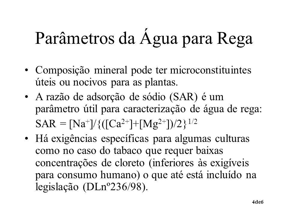 4de6 Parâmetros da Água para Rega Composição mineral pode ter microconstituintes úteis ou nocivos para as plantas. A razão de adsorção de sódio (SAR)