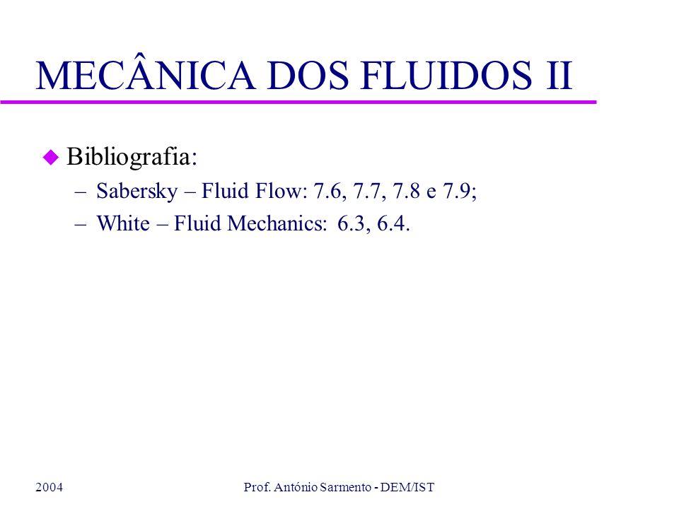 2004Prof. António Sarmento - DEM/IST MECÂNICA DOS FLUIDOS II u Bibliografia: –Sabersky – Fluid Flow: 7.6, 7.7, 7.8 e 7.9; –White – Fluid Mechanics: 6.