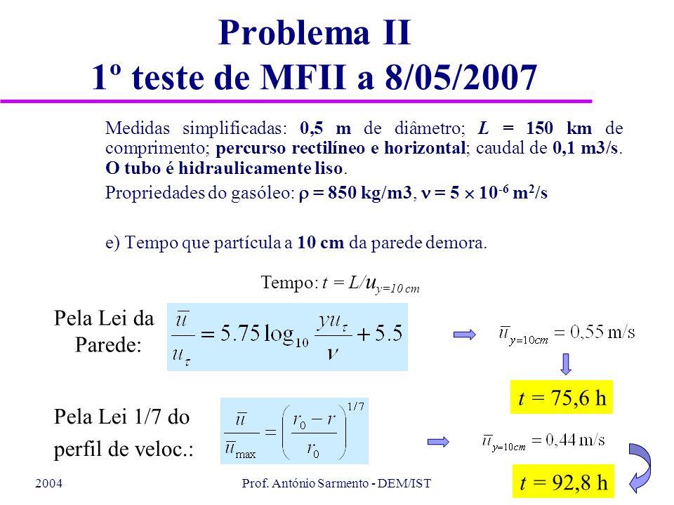 2004Prof. António Sarmento - DEM/IST Problema II 1º teste de MFII a 8/05/2007 Medidas simplificadas: 0,5 m de diâmetro; L = 150 km de comprimento; per