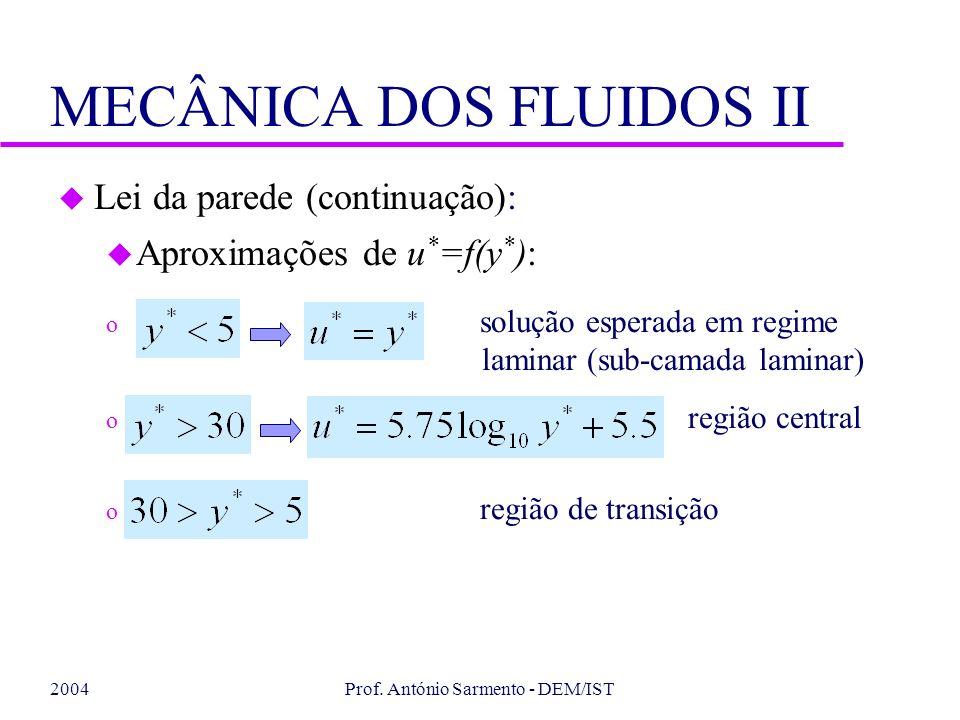2004Prof. António Sarmento - DEM/IST MECÂNICA DOS FLUIDOS II u Lei da parede (continuação): u Aproximações de u * =f(y * ): o solução esperada em regi