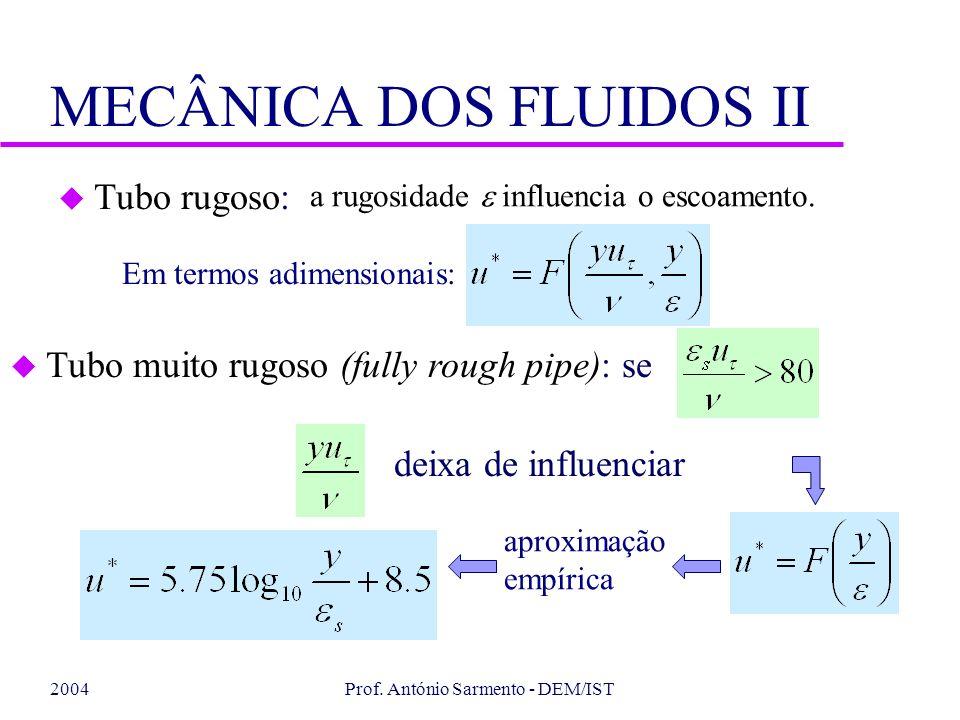2004Prof. António Sarmento - DEM/IST MECÂNICA DOS FLUIDOS II Em termos adimensionais: u Tubo rugoso: a rugosidade influencia o escoamento. u Tubo muit