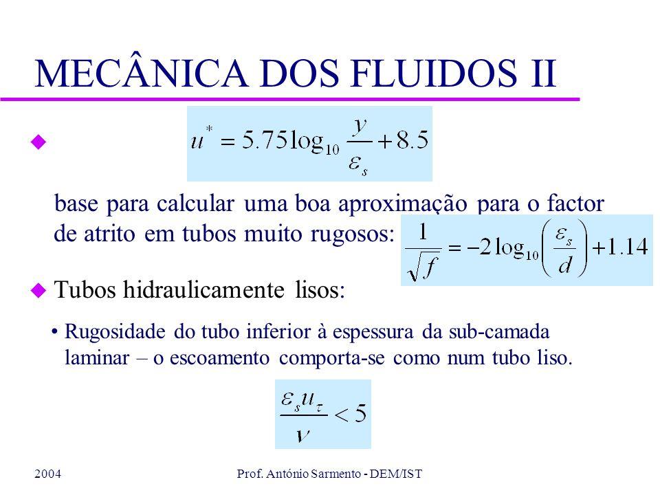 2004Prof. António Sarmento - DEM/IST MECÂNICA DOS FLUIDOS II u base para calcular uma boa aproximação para o factor de atrito em tubos muito rugosos: