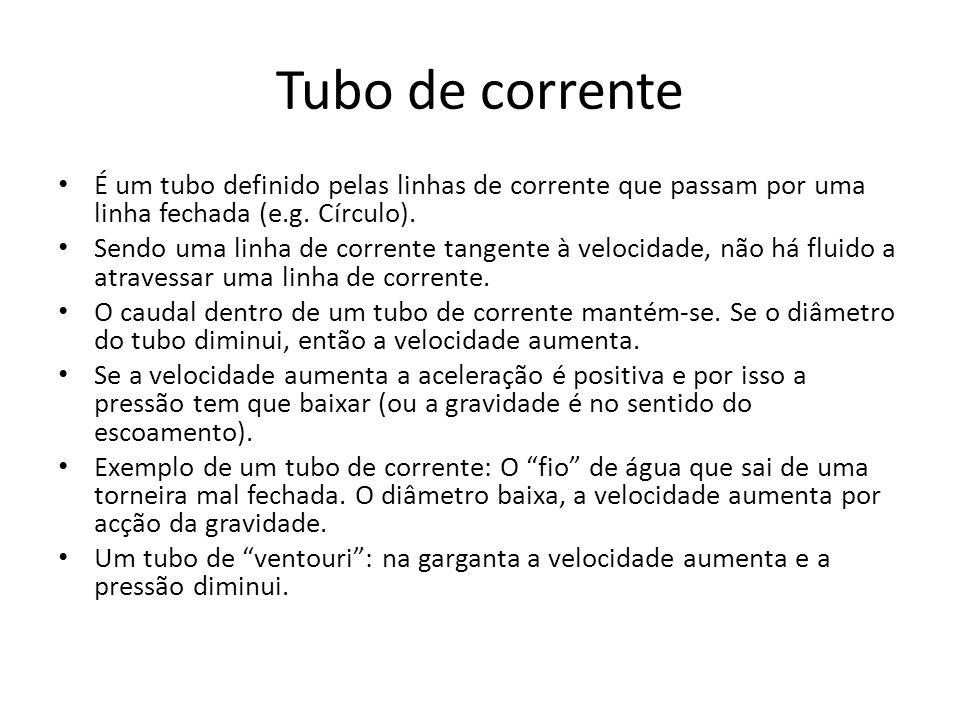Tubo de corrente É um tubo definido pelas linhas de corrente que passam por uma linha fechada (e.g. Círculo). Sendo uma linha de corrente tangente à v
