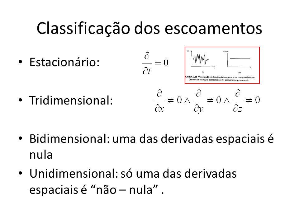Classificação dos escoamentos Estacionário: Tridimensional: Bidimensional: uma das derivadas espaciais é nula Unidimensional: só uma das derivadas esp