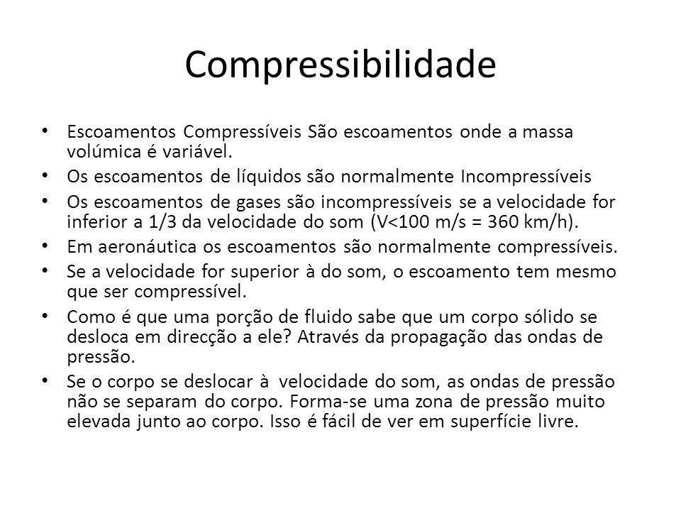 Compressibilidade Escoamentos Compressíveis São escoamentos onde a massa volúmica é variável. Os escoamentos de líquidos são normalmente Incompressíve