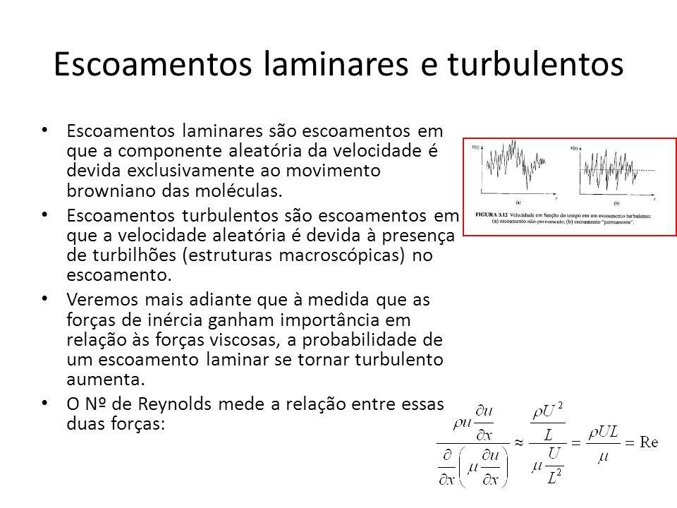 Escoamentos laminares e turbulentos Escoamentos laminares são escoamentos em que a componente aleatória da velocidade é devida exclusivamente ao movim