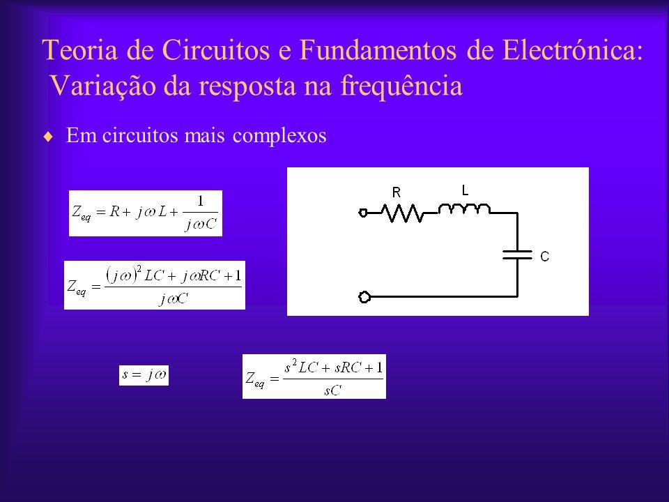 Teoria de Circuitos e Fundamentos de Electrónica: Variação da resposta na frequência Em circuitos mais complexos
