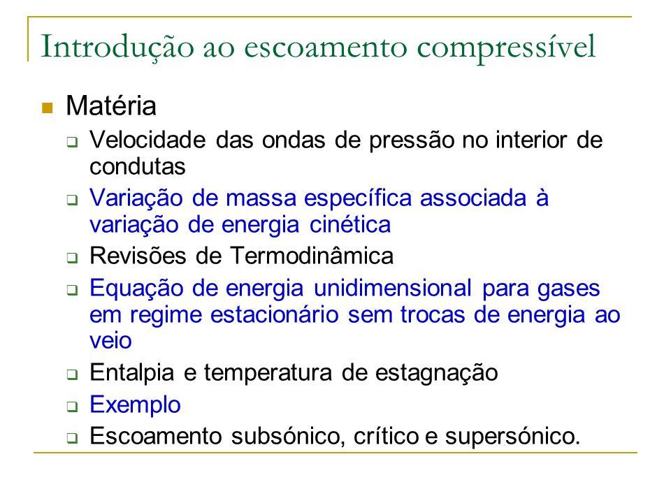 Introdução ao escoamento compressível Matéria (cont.) Velocidade do som Condições críticas Evoluções em função do número de Mach Equações para regime compressível unidimensional Transferência de calor em condutas de secção constante Exemplo.