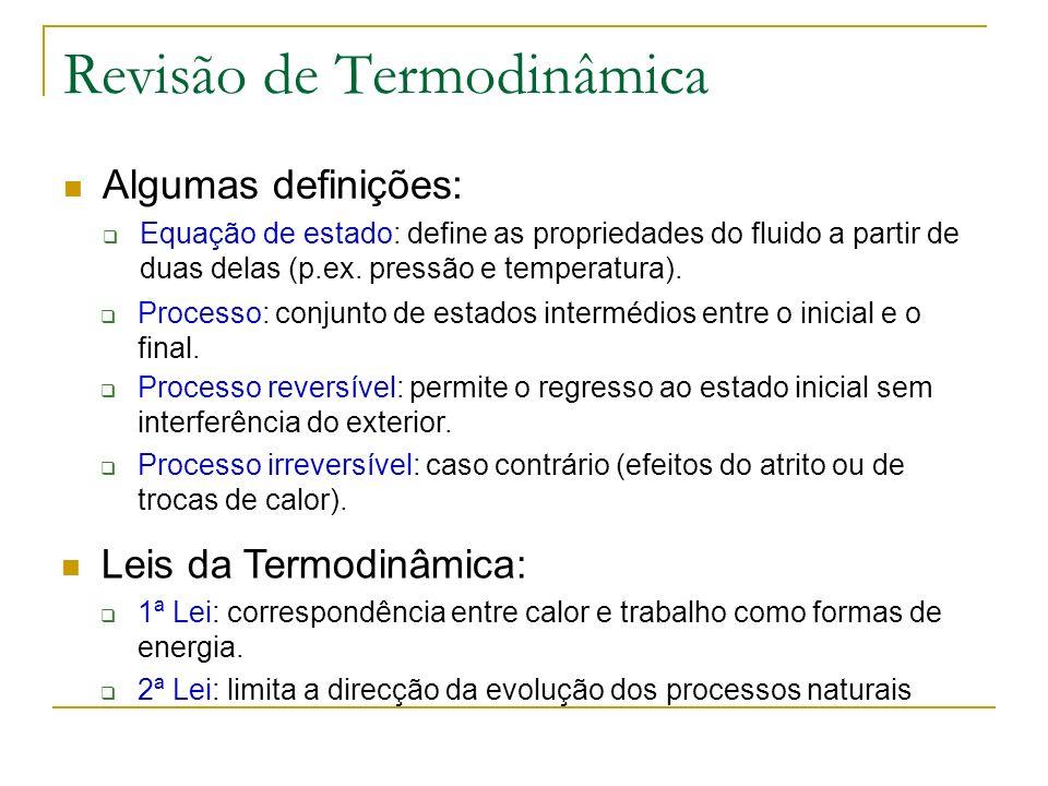 Revisão de Termodinâmica Algumas definições: Equação de estado: define as propriedades do fluido a partir de duas delas (p.ex. pressão e temperatura).