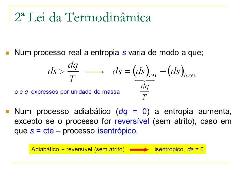 2ª Lei da Termodinâmica Num processo real a entropia s varia de modo a que; s e q expressos por unidade de massa Num processo adiabático (dq = 0) a en