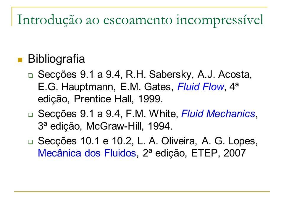 Introdução ao escoamento incompressível Bibliografia Secções 9.1 a 9.4, R.H. Sabersky, A.J. Acosta, E.G. Hauptmann, E.M. Gates, Fluid Flow, 4ª edição,