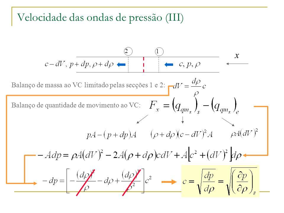 No caso dos líquidos, introduzindo o módulo de expansão volumétrica: Velocidade das ondas de pressão (IV) Condições para pressão e temperatura normais