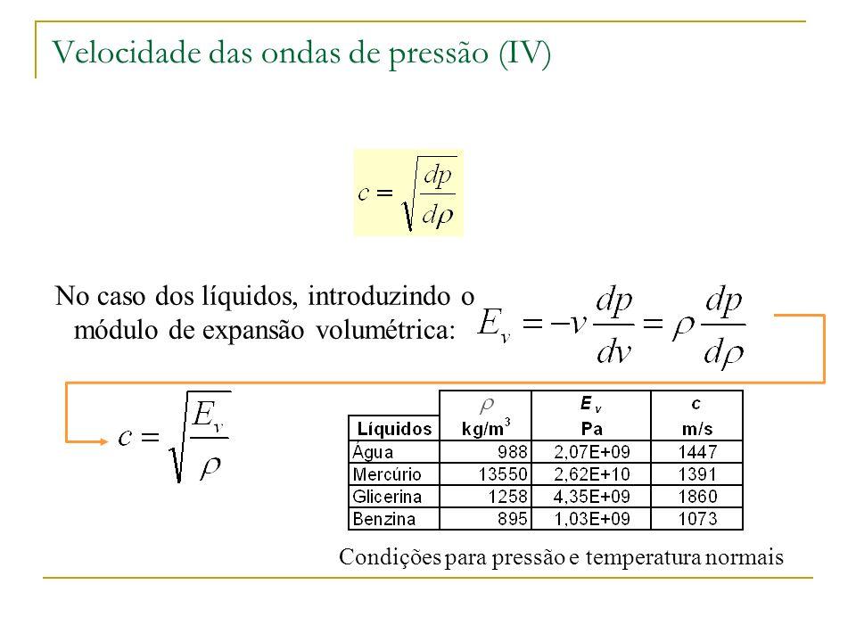 Caso de líquidos em tubagens elásticas: Velocidade das ondas de pressão (V) Condições para água a PTN e d/e=10 d – diâmetro do tubo e – espessura do tubo E – módulo de elasticidade do material do tubo c – velocidade num tubo inelástico