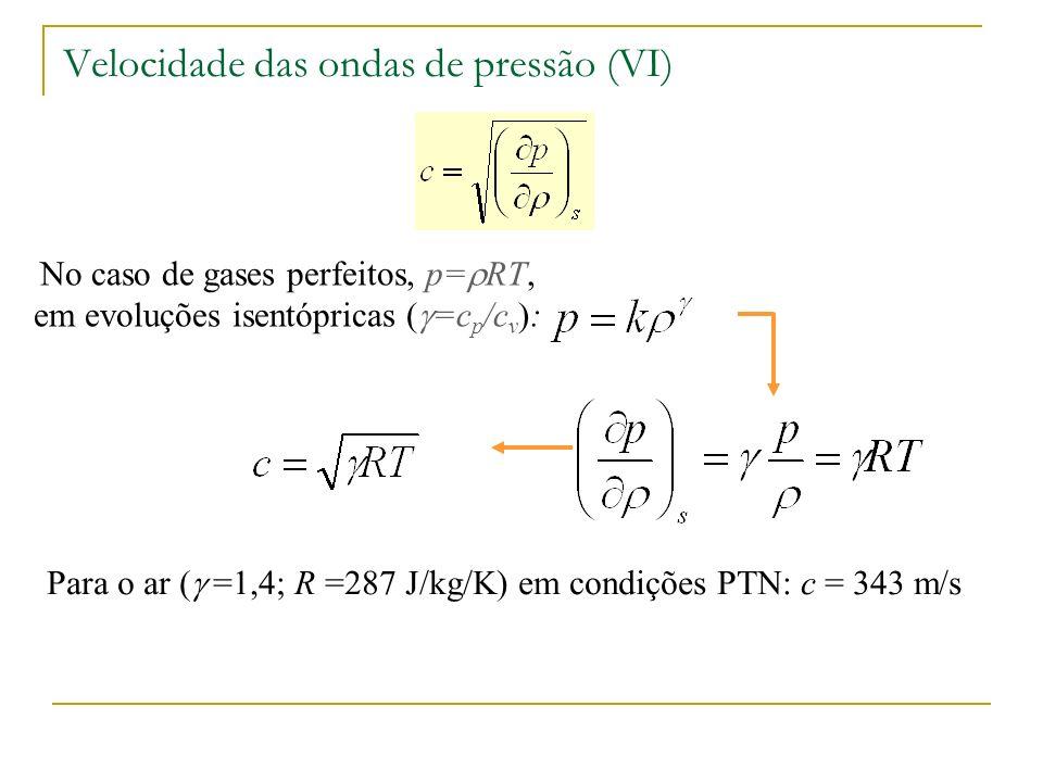 Velocidade das ondas de pressão (VI) No caso de gases perfeitos, p= RT, em evoluções isentópricas ( =c p /c v ): Para o ar ( =1,4; R =287 J/kg/K) em c
