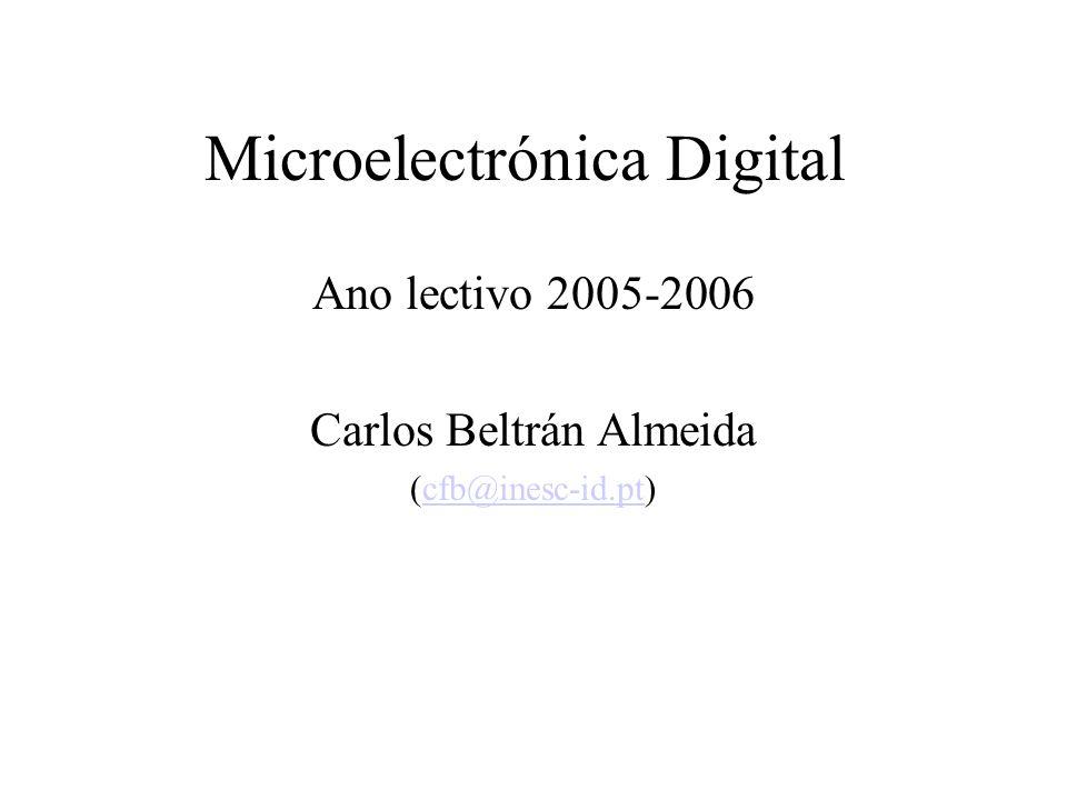 Microelectrónica Digital Ano lectivo 2005-2006 Carlos Beltrán Almeida (cfb@inesc-id.pt)cfb@inesc-id.pt