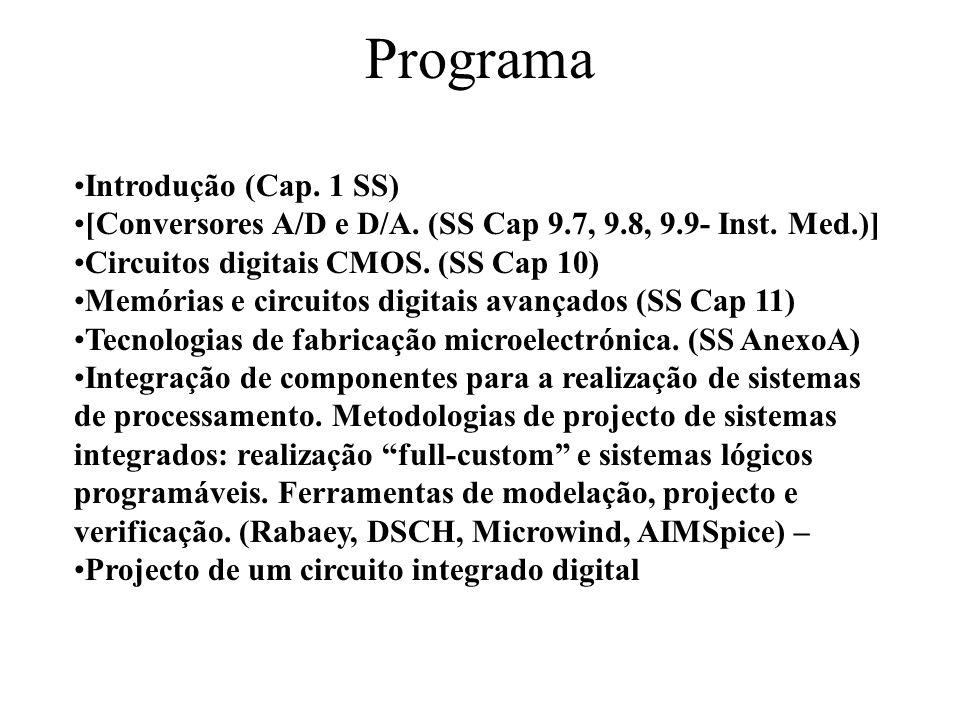 Programa Introdução (Cap. 1 SS) [Conversores A/D e D/A. (SS Cap 9.7, 9.8, 9.9- Inst. Med.)] Circuitos digitais CMOS. (SS Cap 10) Memórias e circuitos