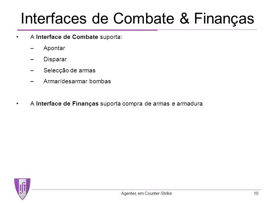 Agentes em Counter-Strike10 Interfaces de Combate & Finanças A Interface de Combate suporta: –Apontar –Disparar –Selecção de armas –Armar/desarmar bombas A Interface de Finanças suporta compra de armas e armadura