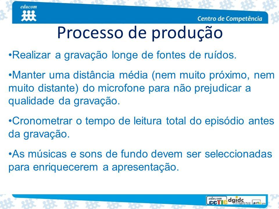 Processo de produção Realizar a gravação longe de fontes de ruídos. Manter uma distância média (nem muito próximo, nem muito distante) do microfone pa