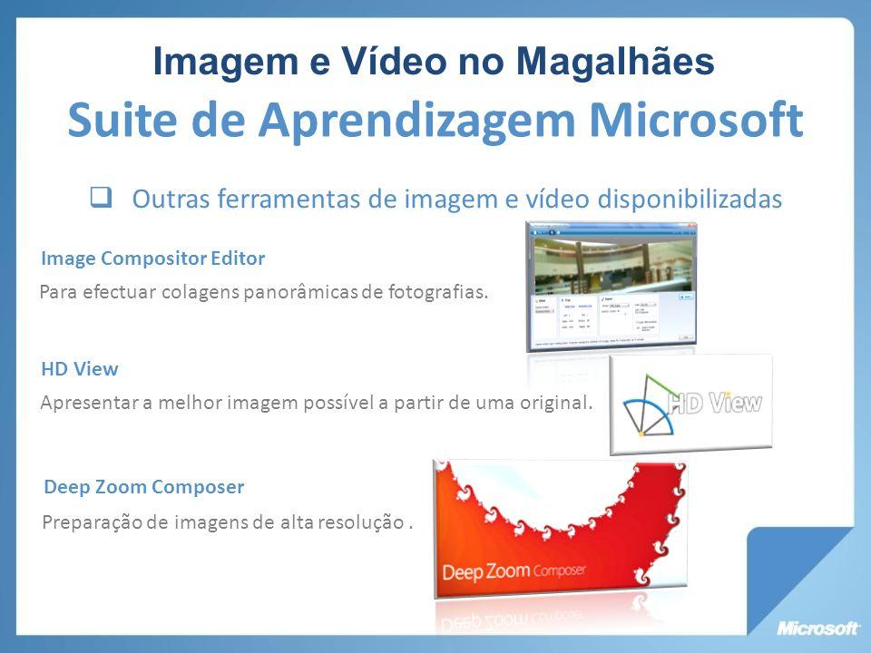 Outras ferramentas de imagem e vídeo disponibilizadas Image Compositor Editor Para efectuar colagens panorâmicas de fotografias. HD View Apresentar a