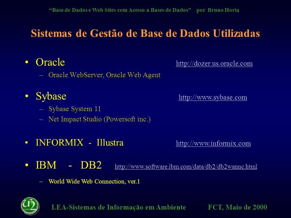 LEA-Sistemas de Informação em Ambiente FCT, Maio de 2000 Base de Dados e Web Sites com Acesso a Bases de Dados por Bruno Horta Exemplos na Web Web Search Engines http://www.yahoo.com Theme Databases http://www.imdb.com GuestBooks Lojas Virtuais, BD de Interesse Público (DR, etc.) Superprof