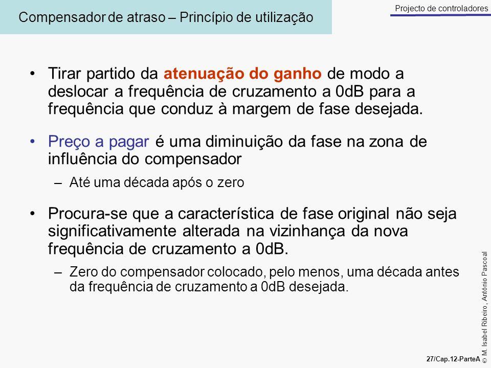 M. Isabel Ribeiro, António Pascoal 27/Cap.12-ParteA Projecto de controladores Compensador de atraso – Princípio de utilização Tirar partido da atenuaç