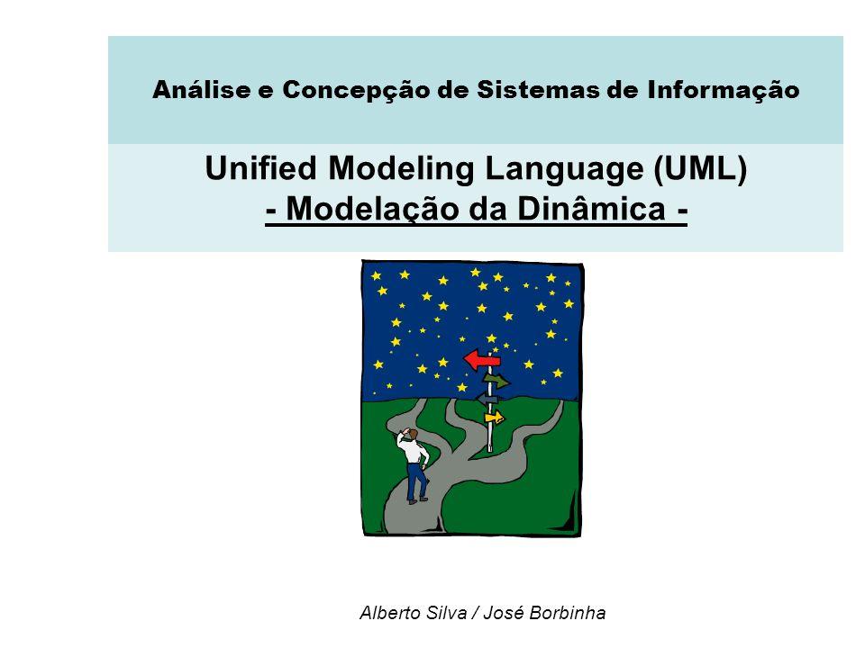 Interacção: Diagramas de Comunicação Diagramas de comunicação Mostram relações entre os objectos, adicionalmente às interacções Adequados para visualizar padrões de colaboração entre objectos Adequados para visualizar todos os efeitos num dado objecto