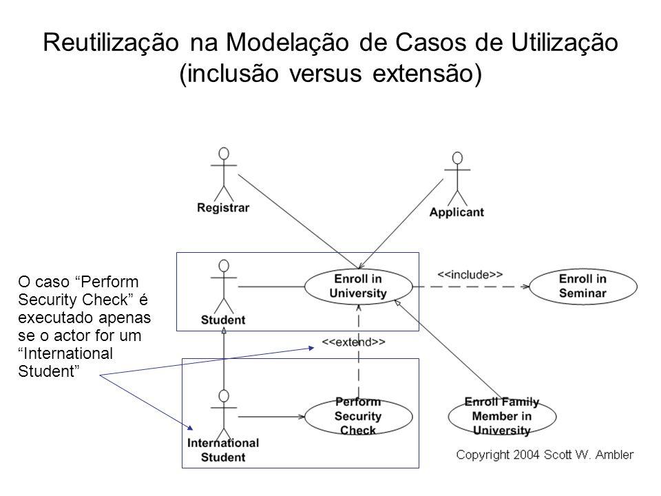 Reutilização na Modelação de Casos de Utilização (inclusão versus extensão) O caso Perform Security Check é executado apenas se o actor for um Interna