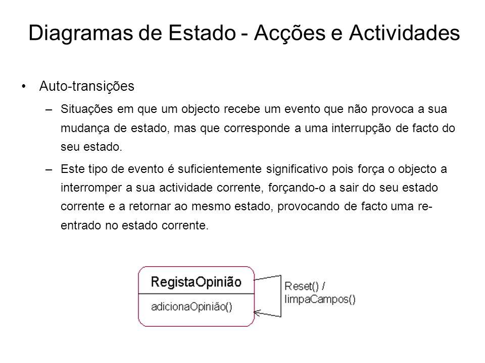 Diagramas de Estado - Acções e Actividades Auto-transições –Situações em que um objecto recebe um evento que não provoca a sua mudança de estado, mas