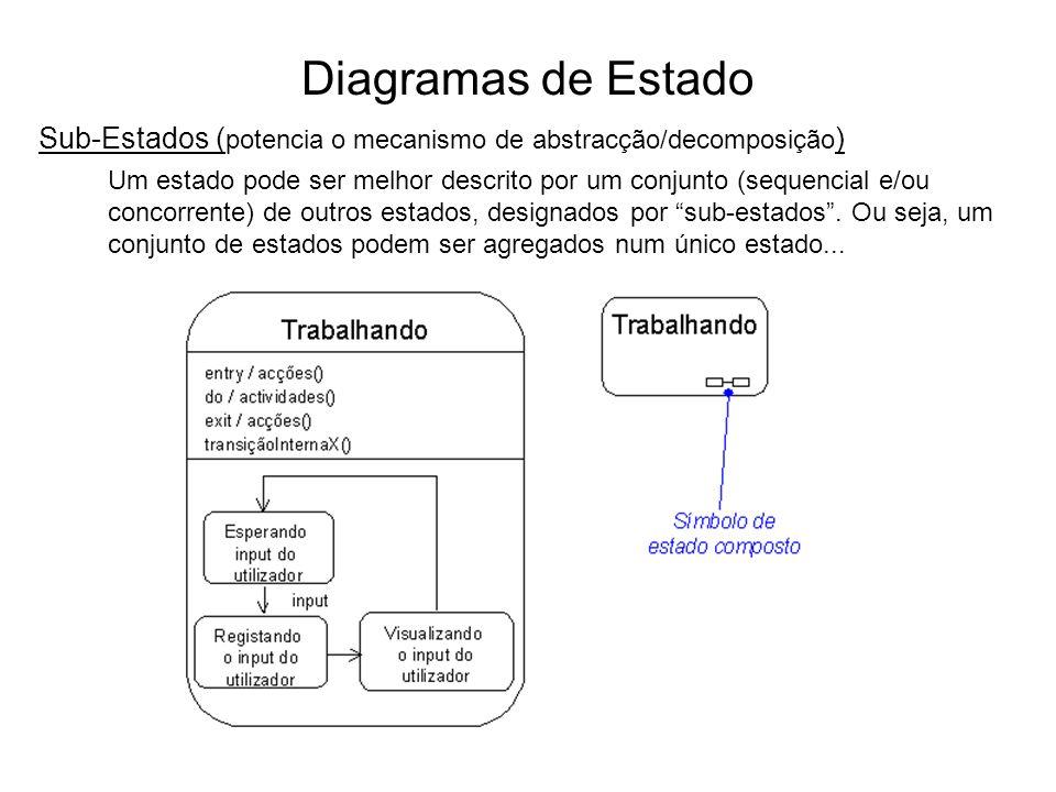 Diagramas de Estado Sub-Estados ( potencia o mecanismo de abstracção/decomposição ) Um estado pode ser melhor descrito por um conjunto (sequencial e/o