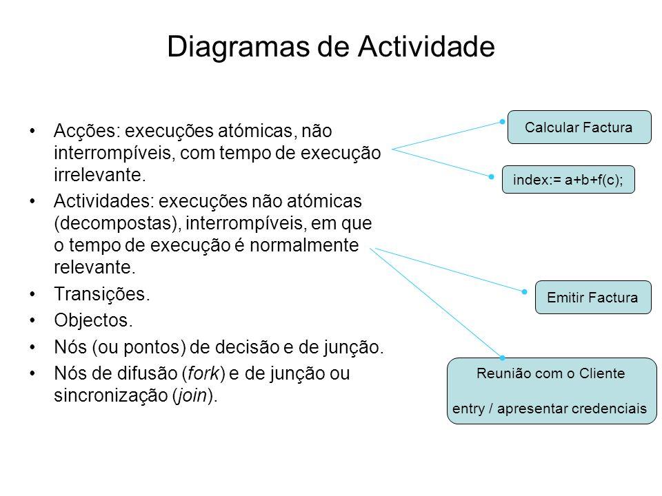 Diagramas de Actividade Acções: execuções atómicas, não interrompíveis, com tempo de execução irrelevante. Actividades: execuções não atómicas (decomp