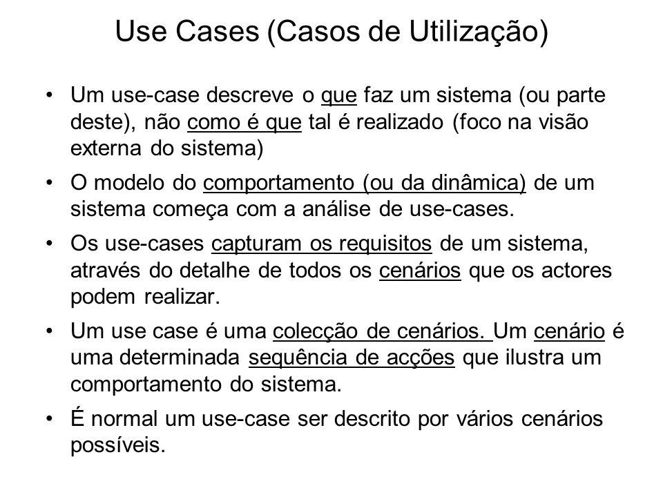 Use Cases (Casos de Utilização) Um use-case descreve o que faz um sistema (ou parte deste), não como é que tal é realizado (foco na visão externa do s