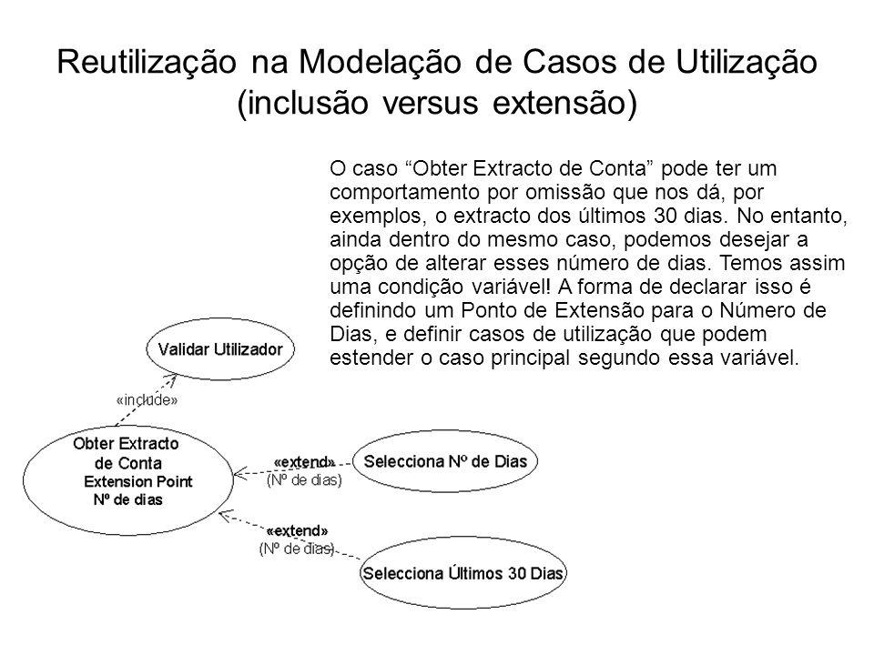 Reutilização na Modelação de Casos de Utilização (inclusão versus extensão) O caso Obter Extracto de Conta pode ter um comportamento por omissão que n
