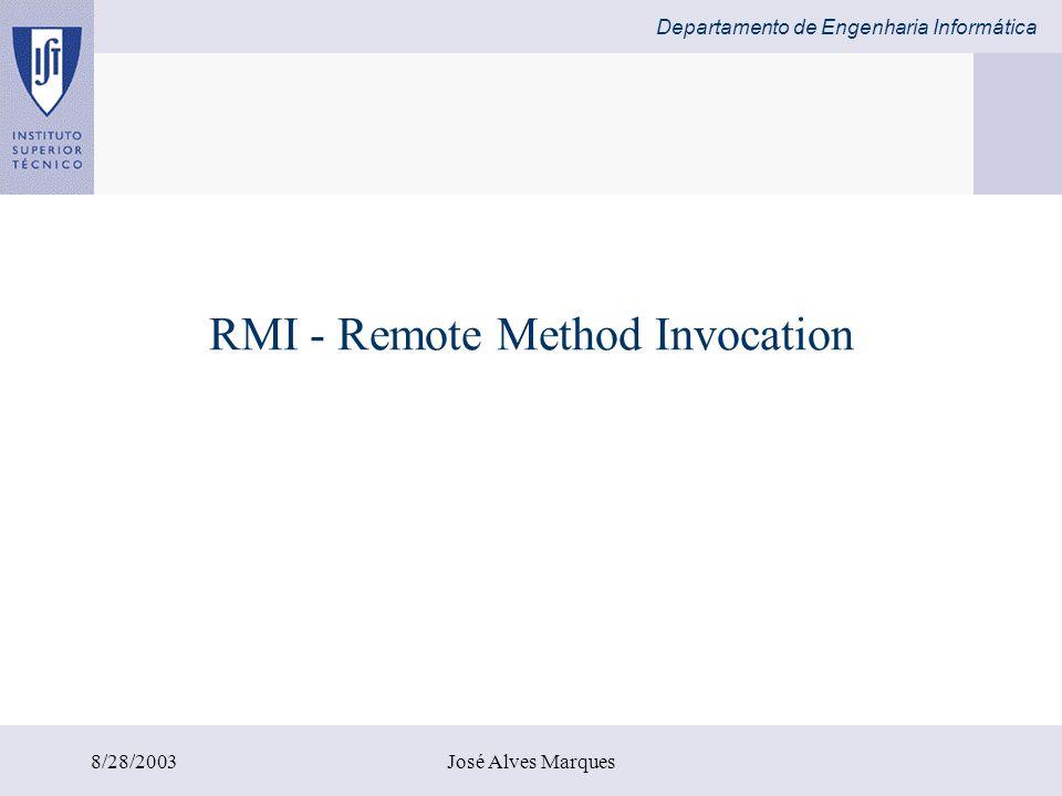 Departamento de Engenharia Informática 8/28/2003José Alves Marques RMI - Remote Method Invocation