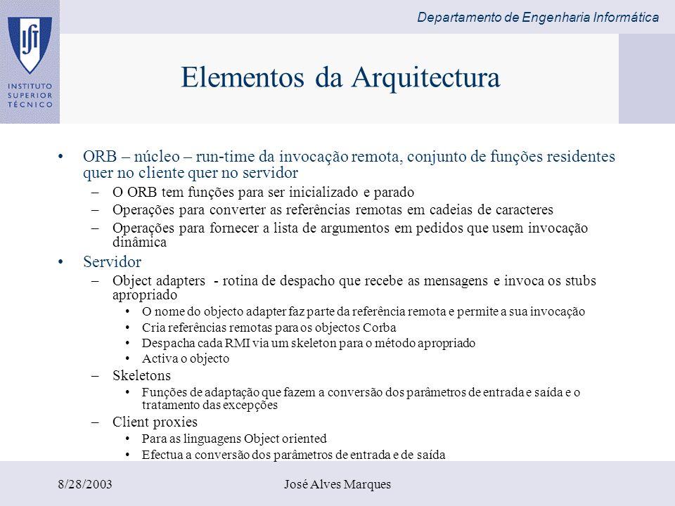 Departamento de Engenharia Informática 8/28/2003José Alves Marques Elementos da Arquitectura ORB – núcleo – run-time da invocação remota, conjunto de