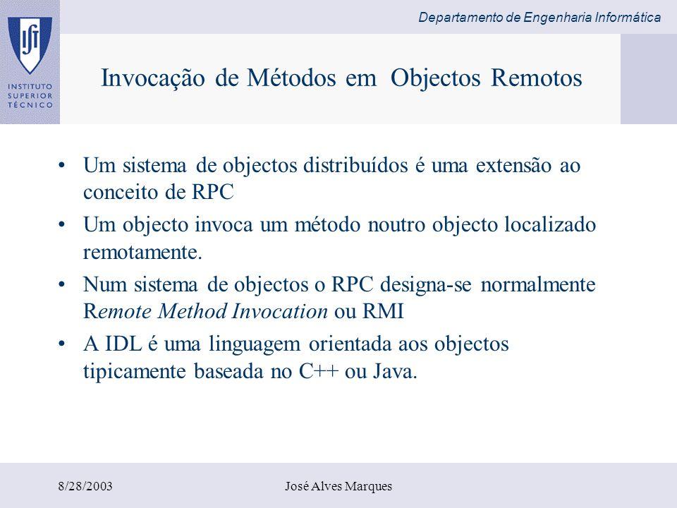 Departamento de Engenharia Informática 8/28/2003José Alves Marques Java RMI No Java RMI os parâmetros de um método assumem-se como entradas (input) e o resultado do método como parâmetro de saída (output) Quando o parâmetro é um objecto remoto –é sempre passado como uma referência para um objecto remoto Quando o parâmetro é um objecto local –é serializado e passado por valor.
