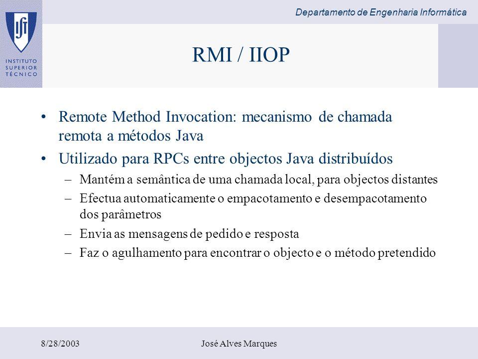 Departamento de Engenharia Informática 8/28/2003José Alves Marques RMI / IIOP Remote Method Invocation: mecanismo de chamada remota a métodos Java Uti