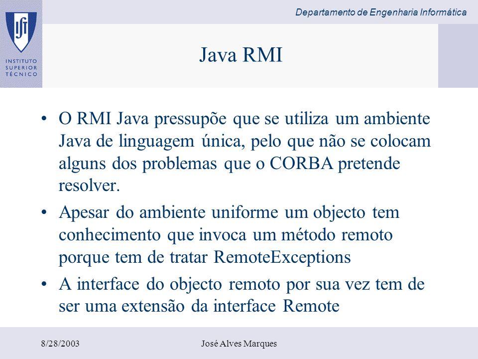 Departamento de Engenharia Informática 8/28/2003José Alves Marques Java RMI O RMI Java pressupõe que se utiliza um ambiente Java de linguagem única, p